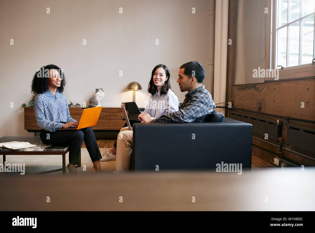 Smiling work colleagues using laptops at a casual meeting - Stock Image