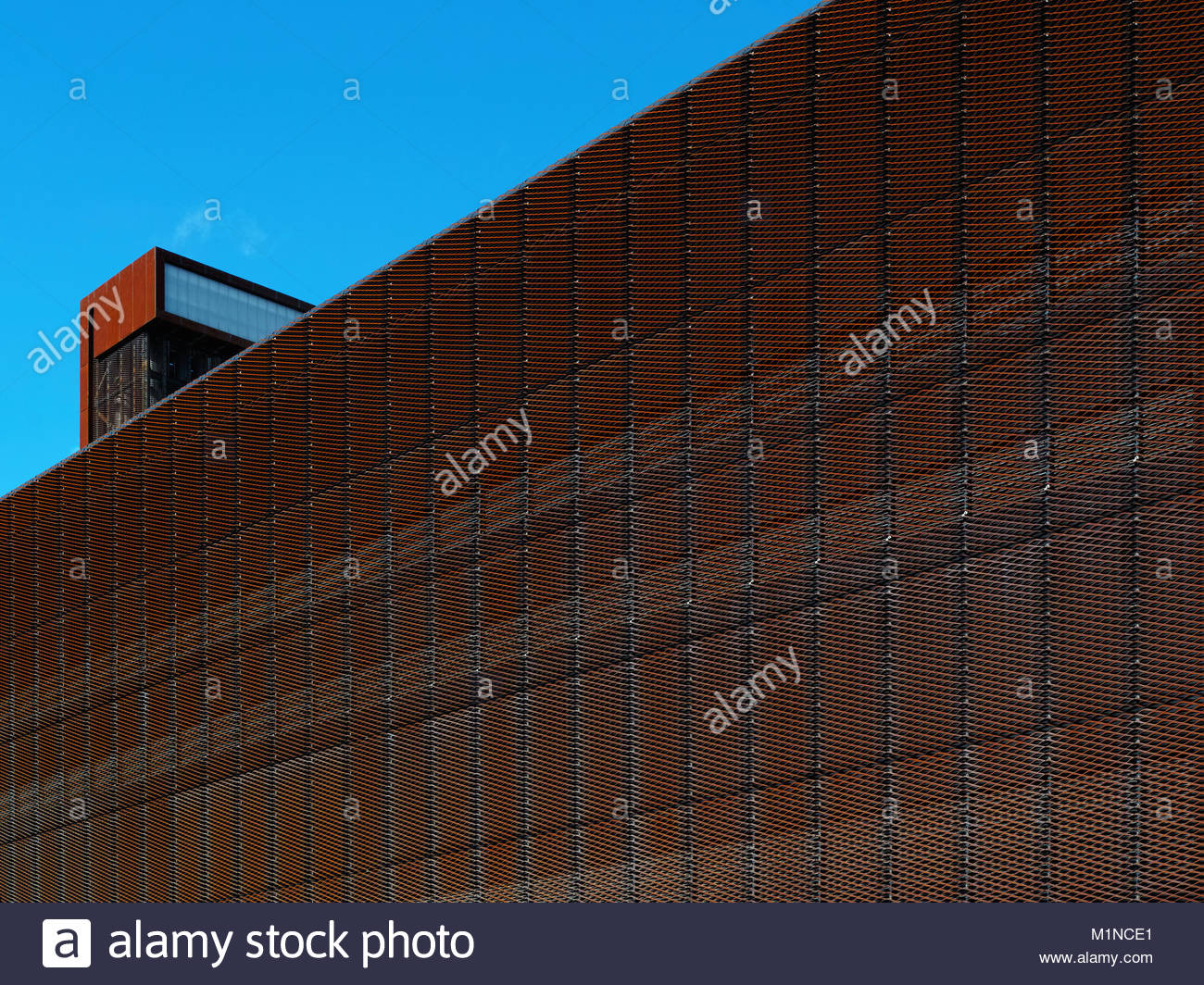 Close up detail of the corten steel cladding on the Olympic Park energy centre:  London. Stock Photo