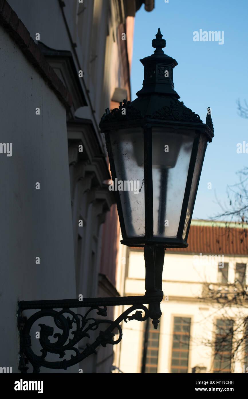Old school lamp in Prague - Stock Image