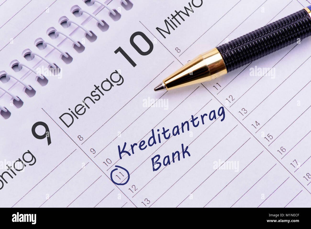 Kredit und Bank als Eintrag im Terminkalender Stock Photo