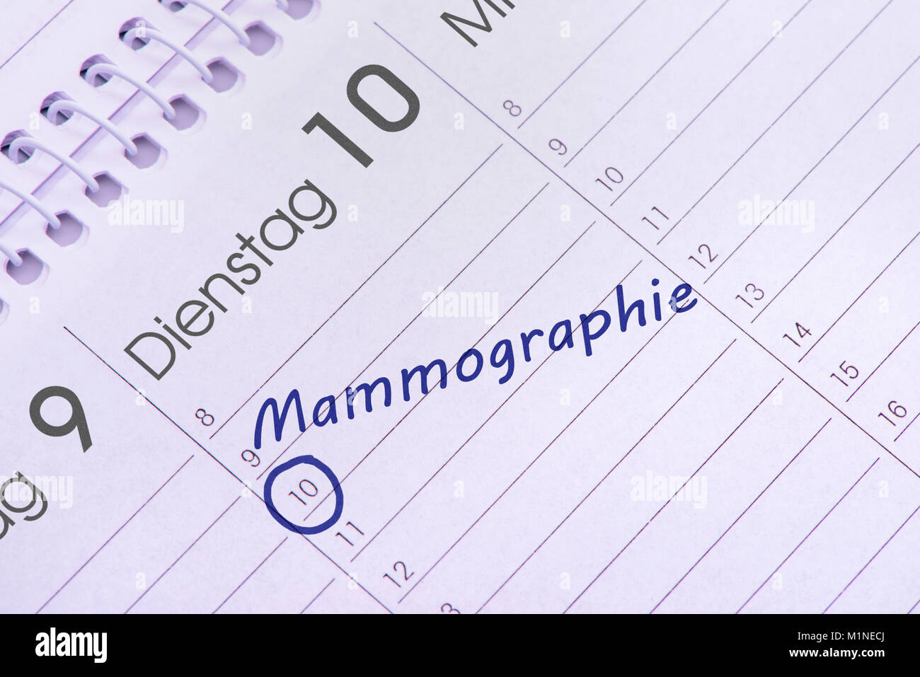 Mammographie Termin im Kalender Stock Photo