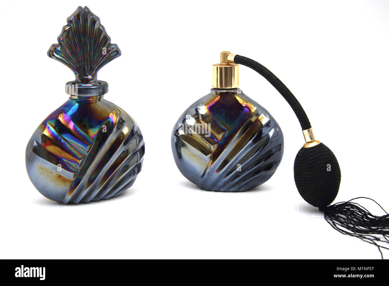 Vintage Oil Colour Perfume Atomiser And Bottle - Stock Image