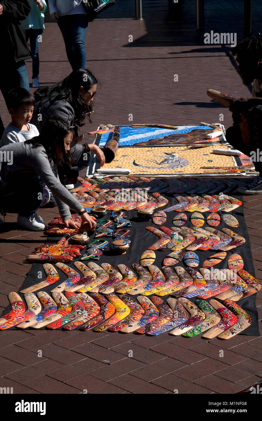 aboriginal artefacts being sold at circular quay sydney new south wales australia - Stock Image