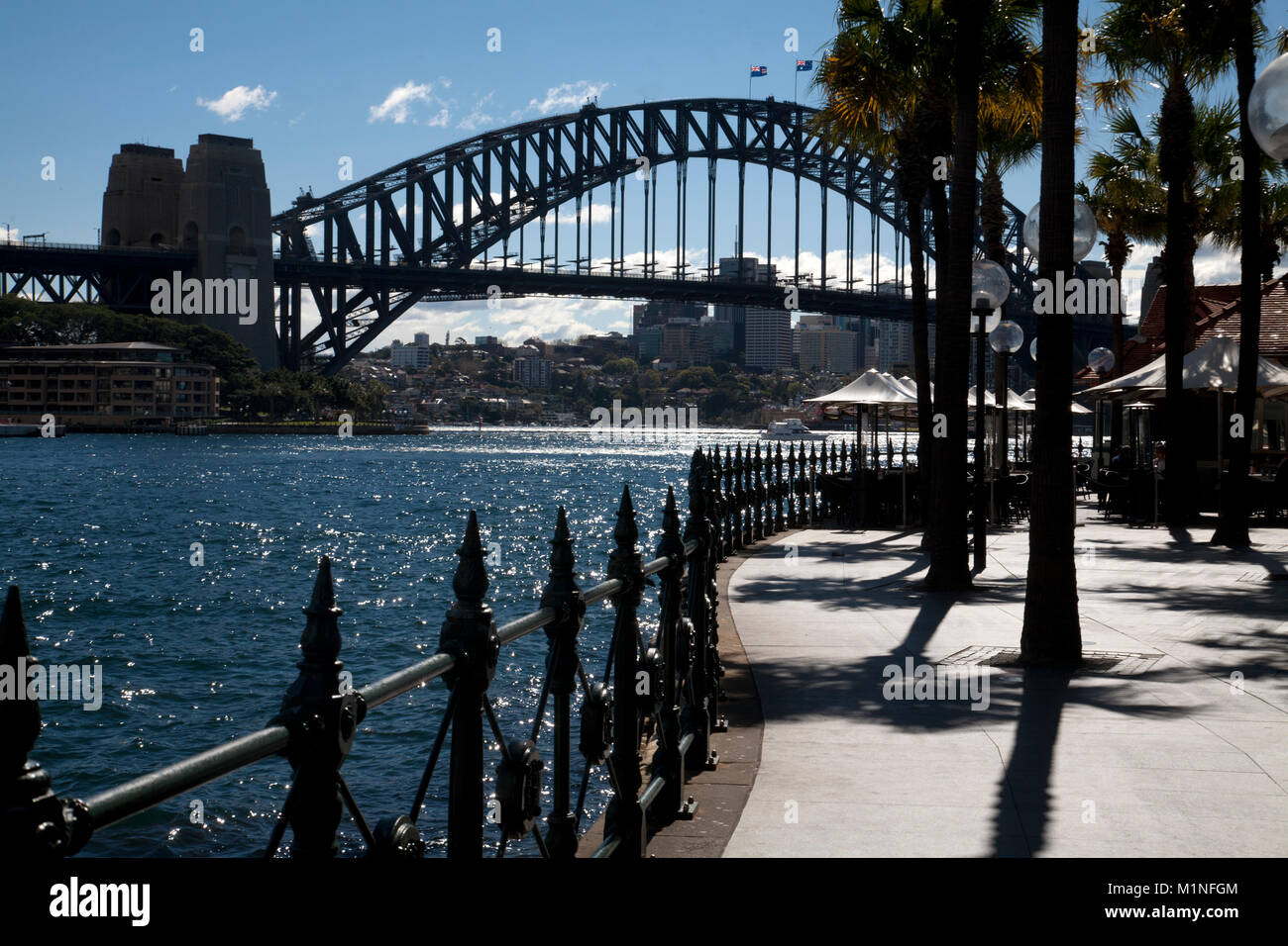 sydney harbour bridge writers walk circular quay sydney new south wales australia - Stock Image