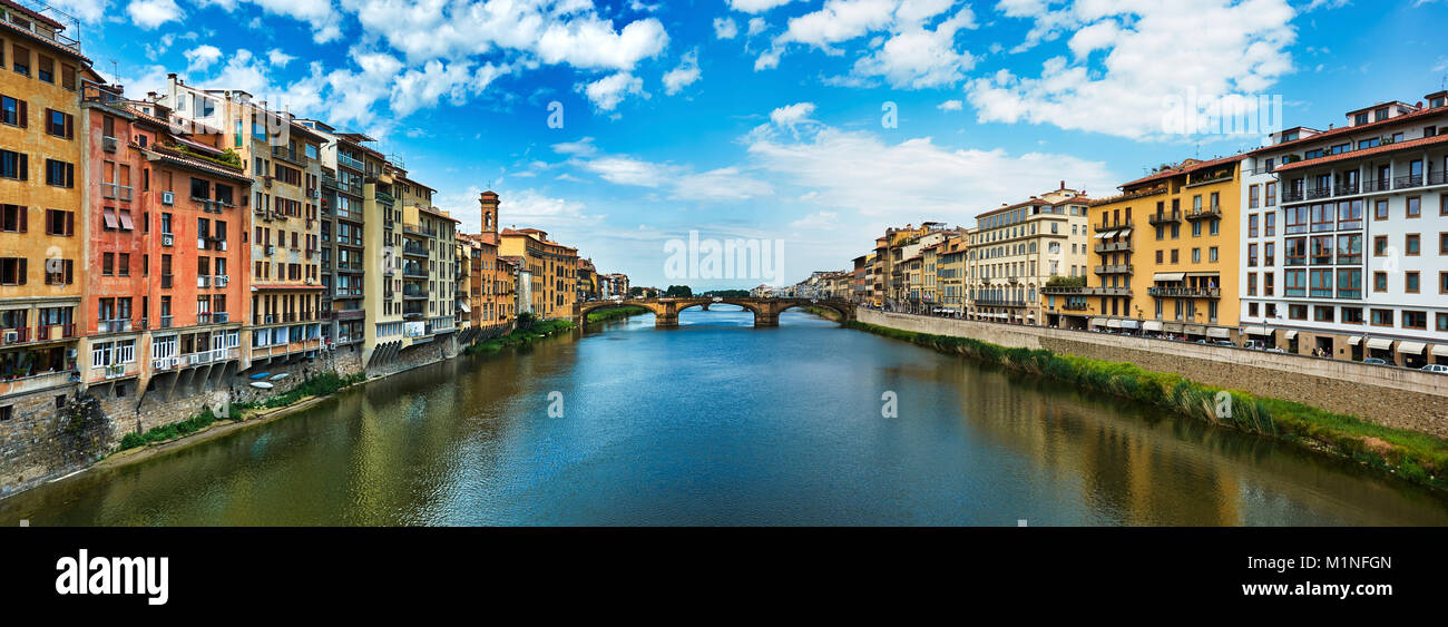 FLORENCE, ITALY - MAY 19, 2017: Beautiful panorama of Saint Trinity bridge from Ponte Vecchio in Florence, Italy. - Stock Image