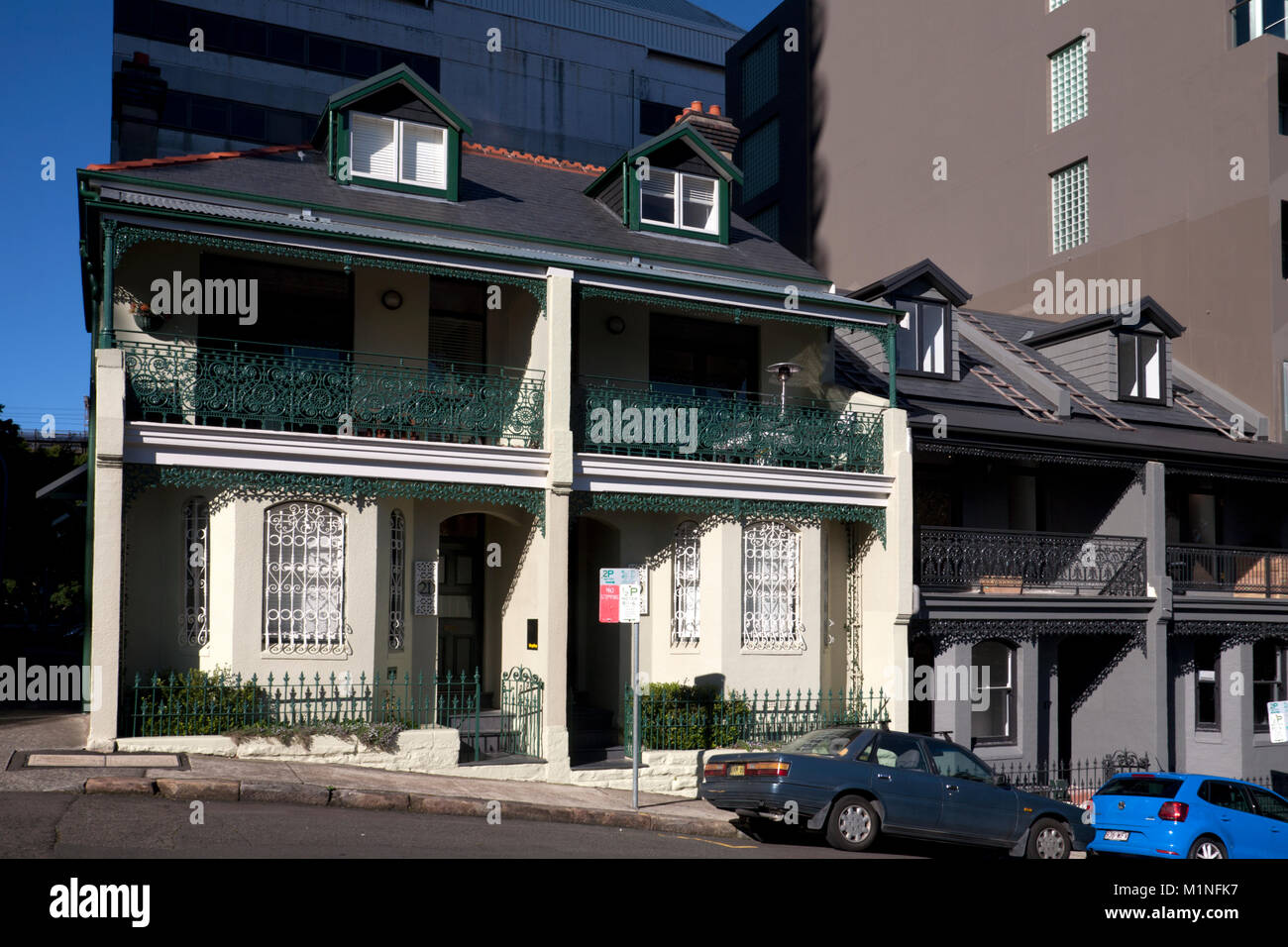 traditional terraced houses kirribilli north sydney new south wales australia - Stock Image