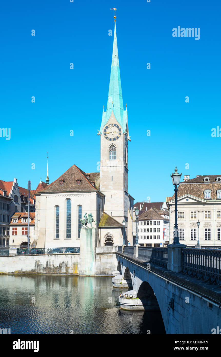 Zurich, Switzerland, the Fraumunster church and bell tower - Stock Image
