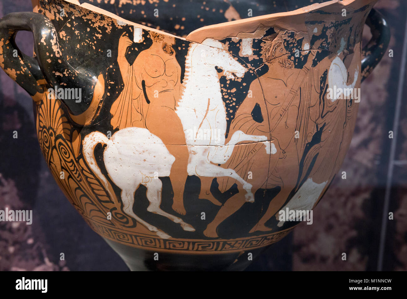 Jaen, Spain - December 29th, 2017: Ancient greek krater found at Piquia Burial Chamber. Ascent of Herakles to hero. - Stock Image