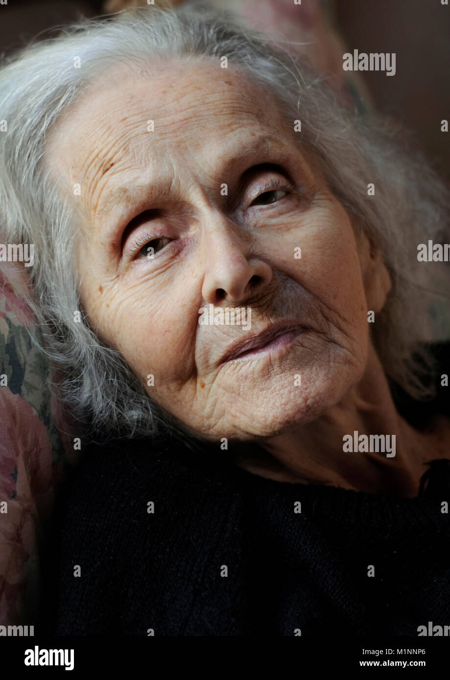 Beautiful old woman - Stock Image