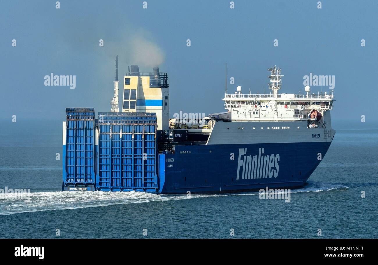 Finnlines Ferry on the North-Sea, Thamesport, Great Britain, Aug. 27, 2017. | usage worldwide - Stock Image
