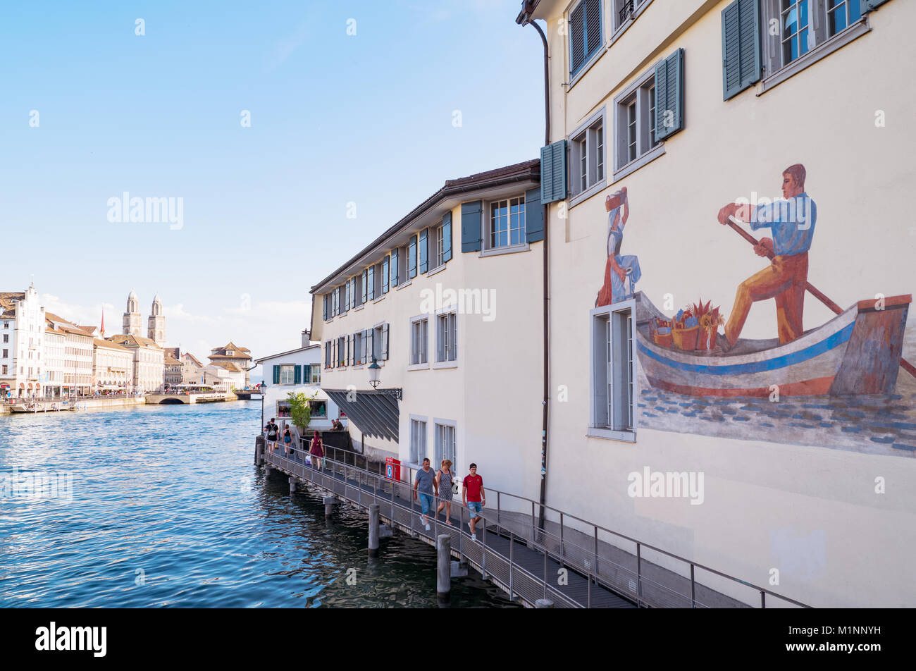 Zurich, Switzerland, A house with painting on the Limmat river bank - Stock Image