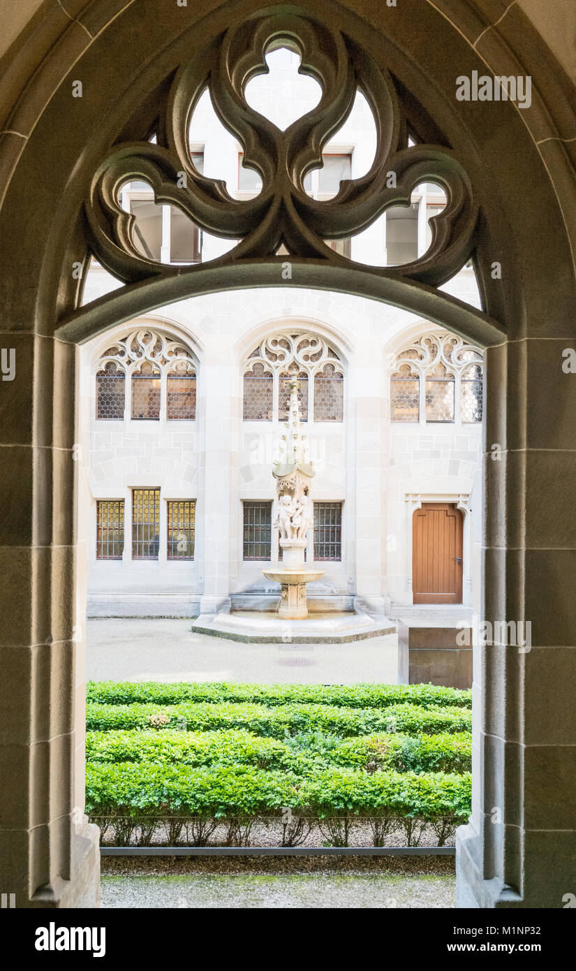 Zurich, Switzerland, the Fraumunster cloister - Stock Image