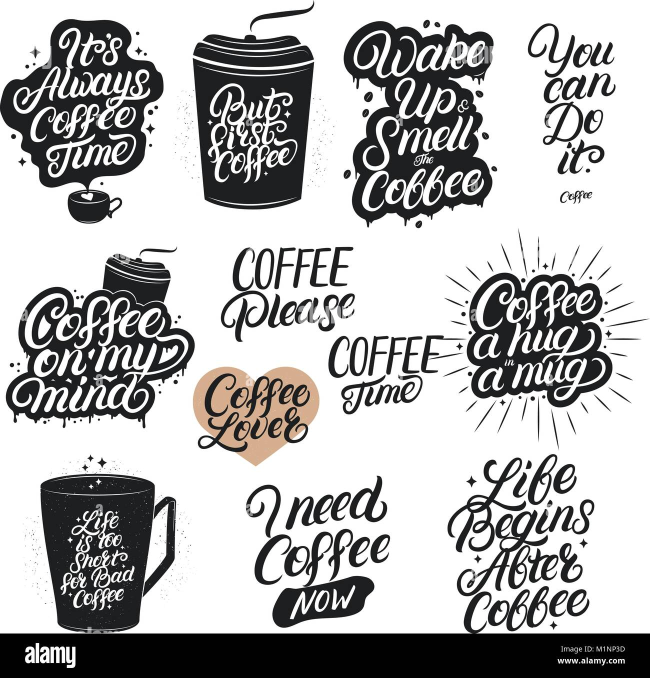 Set Of Hand Drawn Lettering Coffee Quotes Modern Brush Calligraphy Stock Vector Image Art Alamy