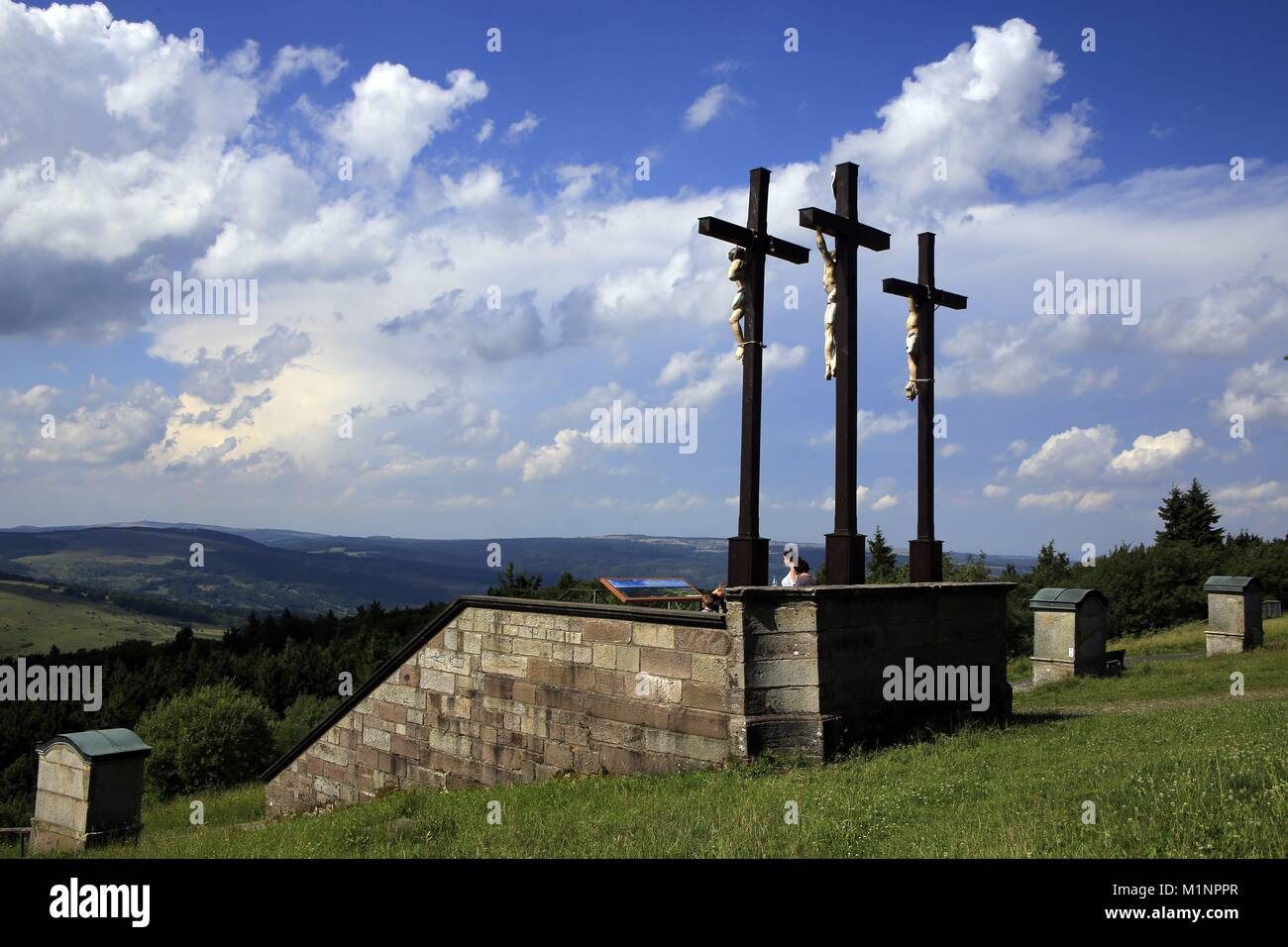 The landmark of the Kreuzberg in the Rhon is the crucifixion group. At the same time it is one of the most famous Stock Photo