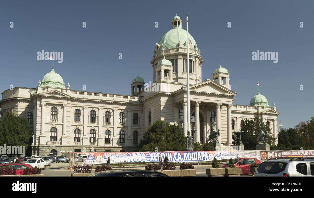 Posters reminding the NATO Air Raids and Kosovo War at the Parliament of Serbia Building in Belgrade, 2.10.2017 Stock Photo