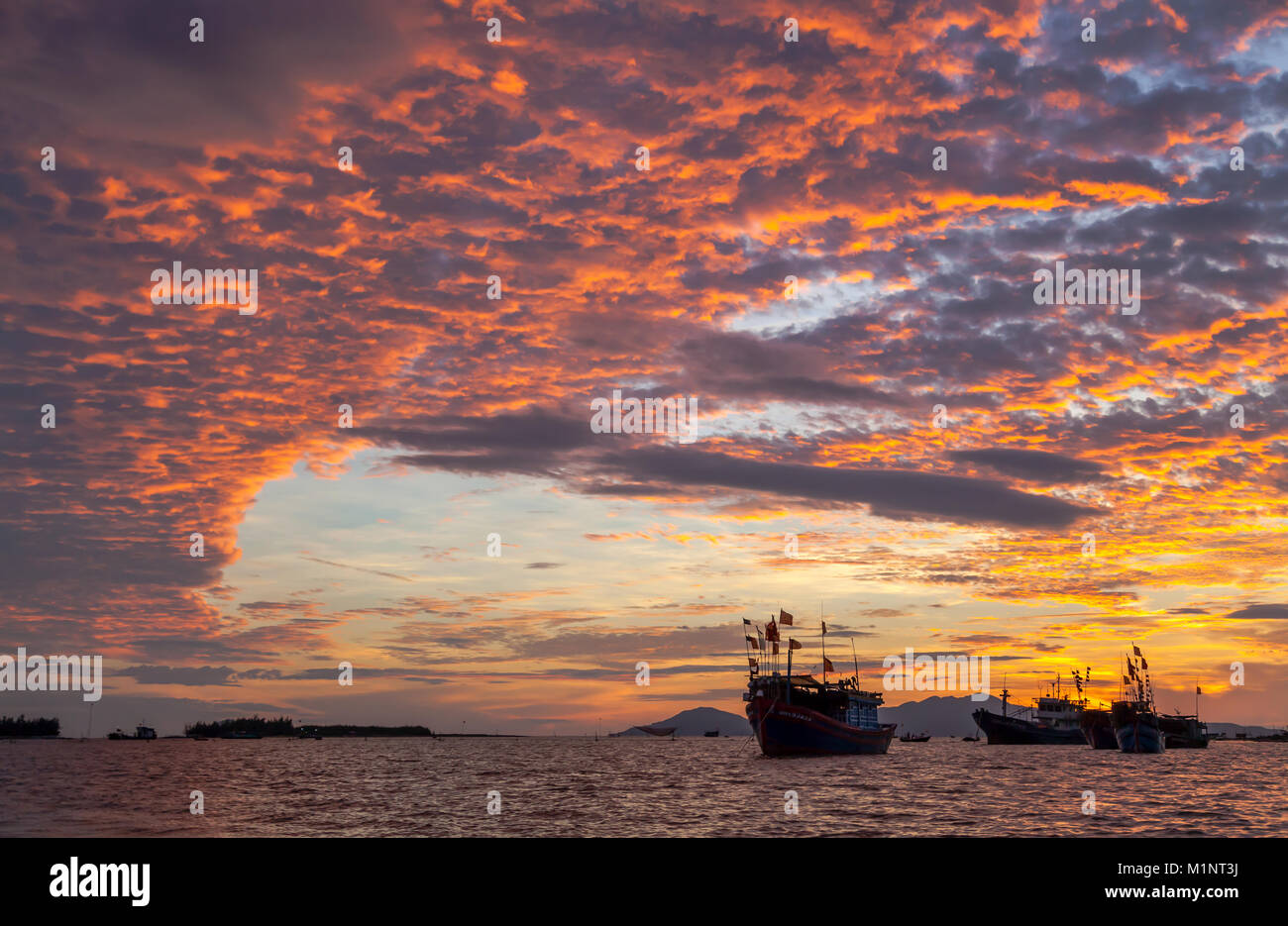 Vietnamese fishing vessels anchored in South China Sea, outside Hoi An, Vietnam. - Stock Image