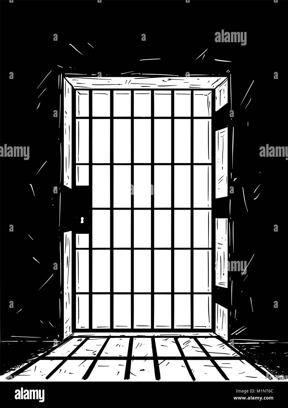 Cartoon Vector Drawing of Prison Door Casting Shadow  sc 1 st  Alamy & Cartoon Vector Drawing of Prison Door Casting Shadow Stock Vector ...