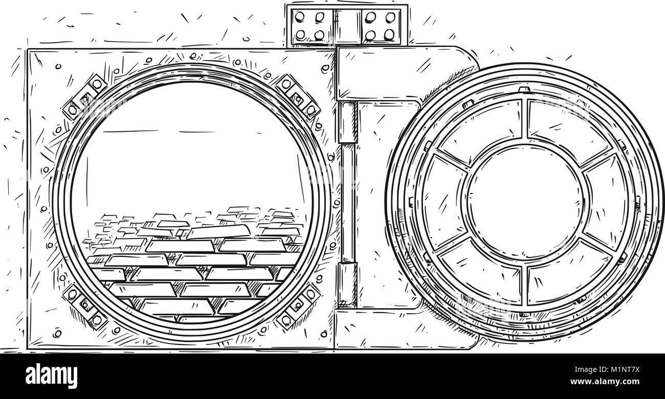 Cartoon Vector Drawing of Open Vault Door With Gold Bars - Stock Image