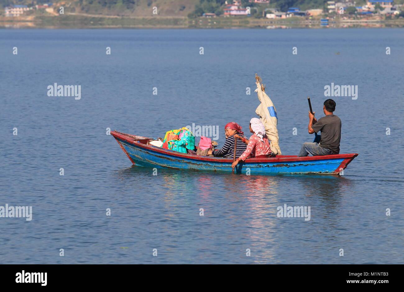 People sail in Fhewa lake Pokhara Nepal. - Stock Image