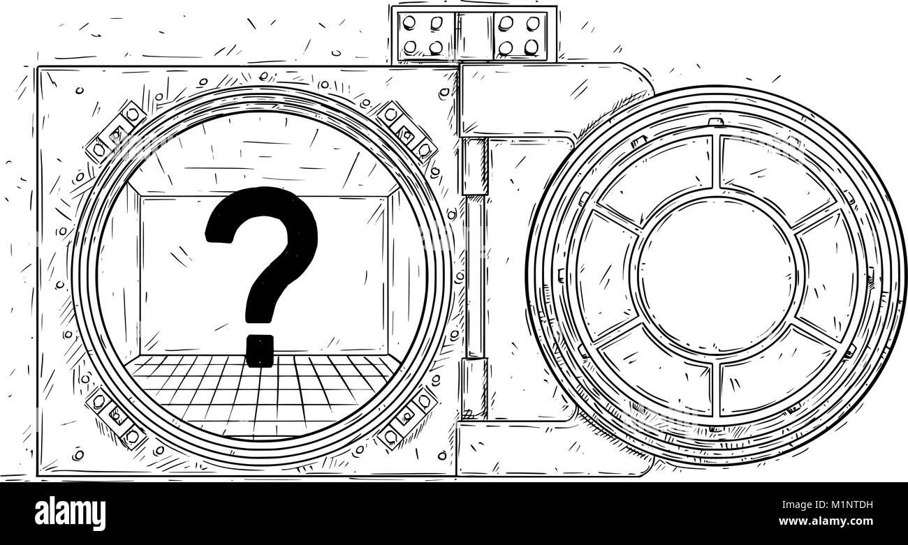 Cartoon Vector Drawing of Open Empty Vault Door - Stock Image