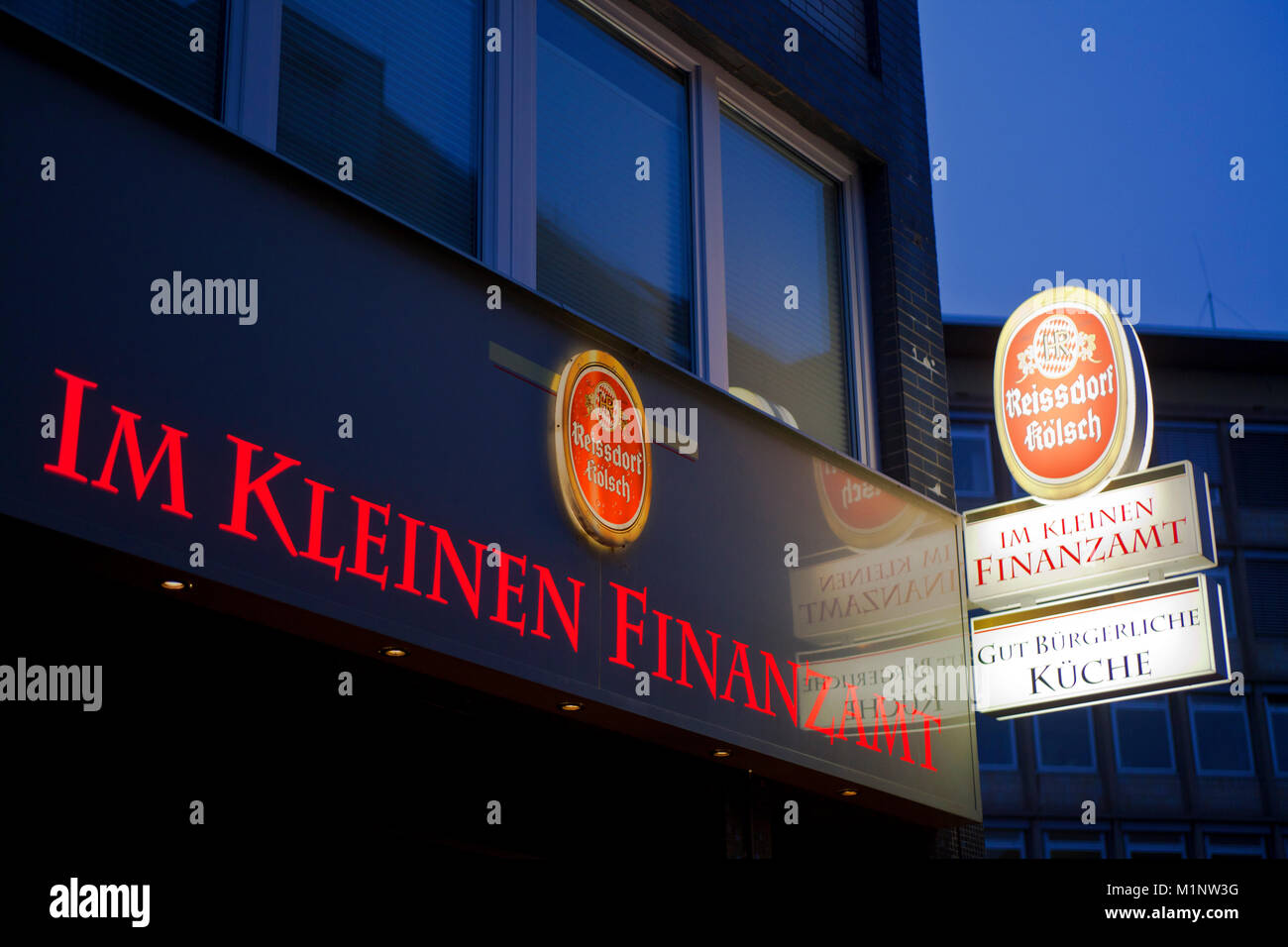 Germany, Cologne, the pub Im Kleinen Finanzamt (translation: In the small revenue office) near the revenue office - Stock Image