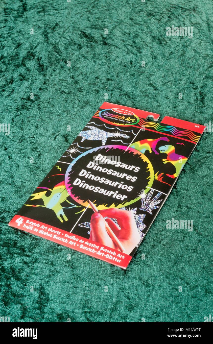 Melissa & Doug Children's Holographic Scratch Art Dinosaur Kit - Stock Image