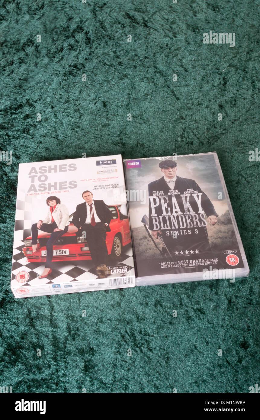 BBC Crime Drama DVDs in Jewel Cases, UK - Stock Image
