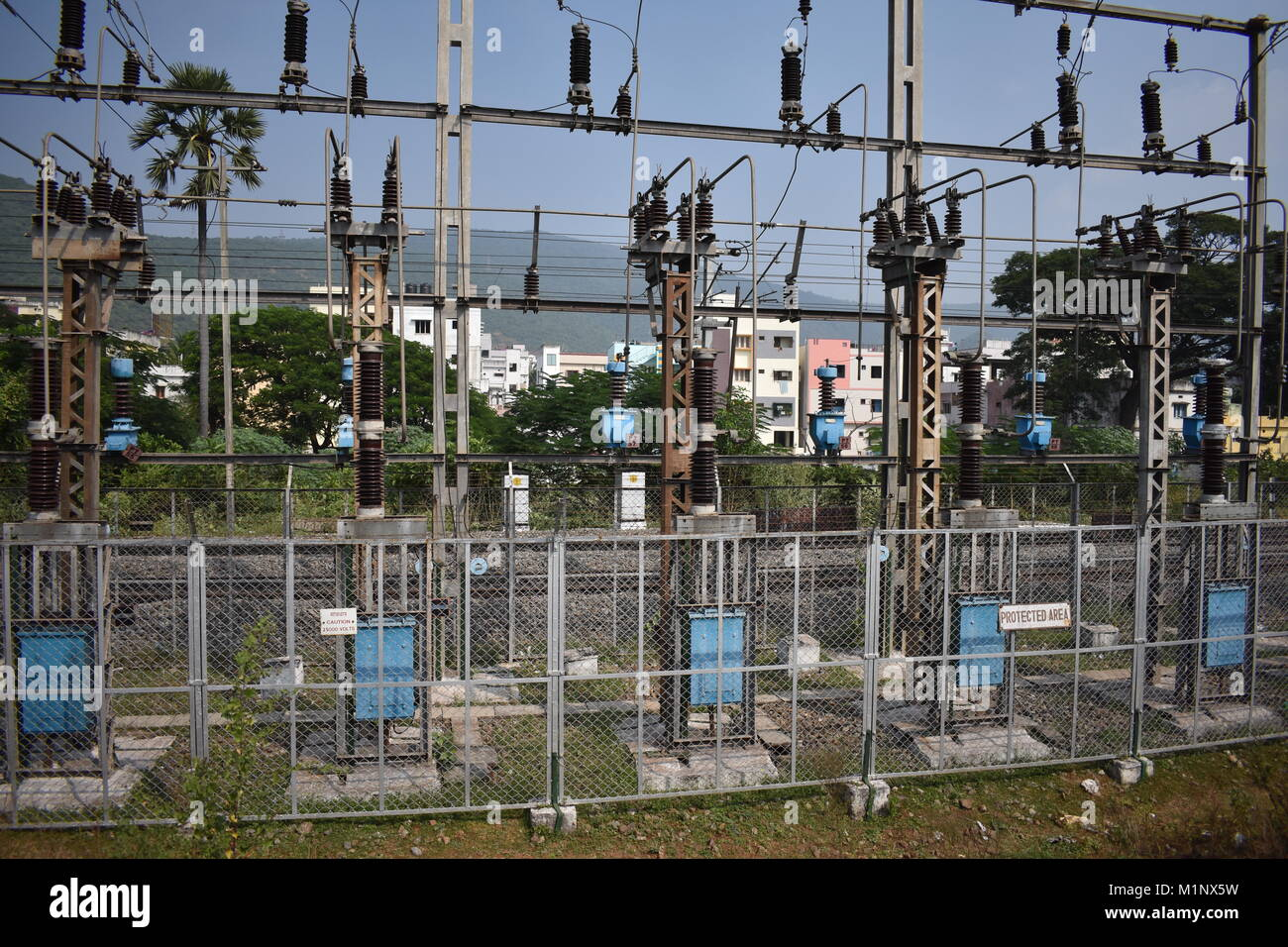 Transformer Circuit Stock Photos Images Overhead Wiring Diagram A Yard Close View With Background City Building Image