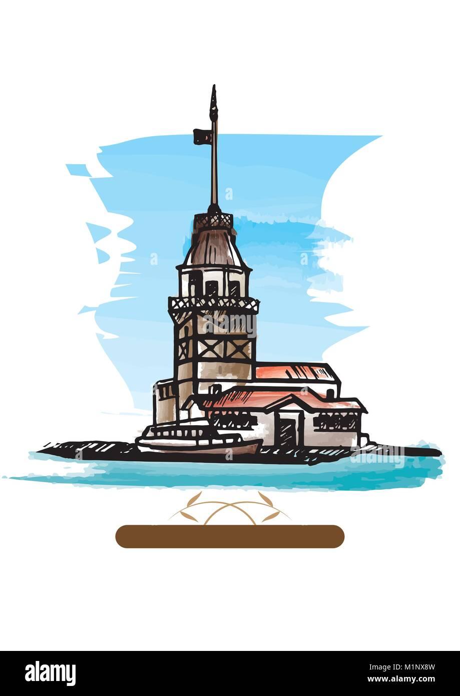 The Maiden's Tower (Kiz Kulesi). Hand drawn vector illustration. - Stock Image