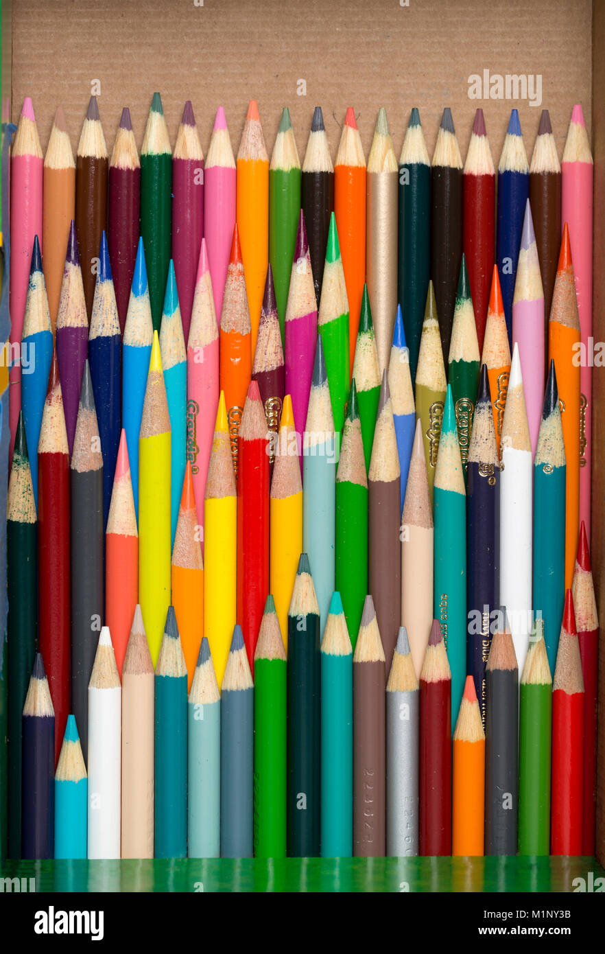 A box of used color pencils at various lengths and colors - Stock Image
