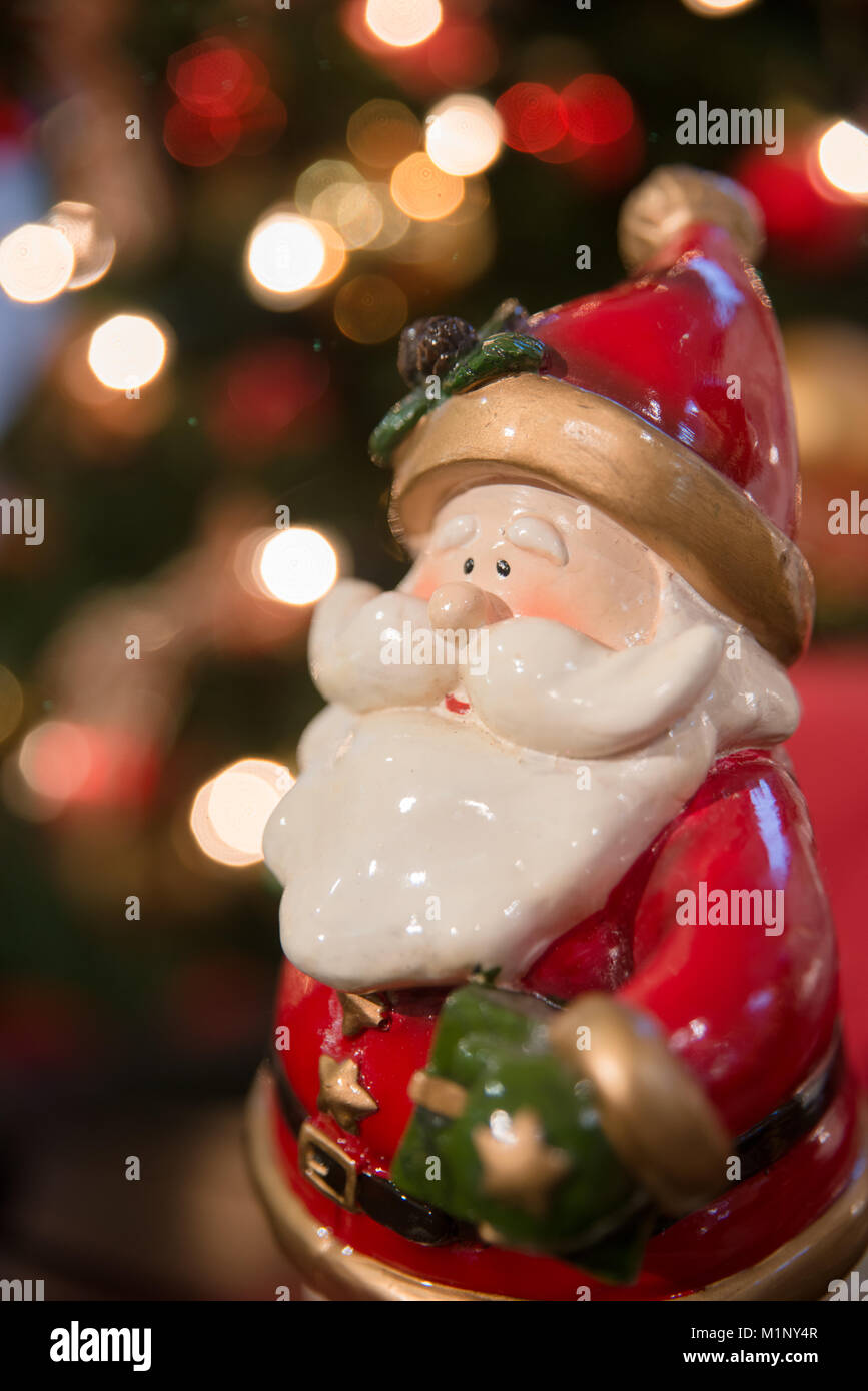 close up view on santa claus figure used for christmas decorations stock image