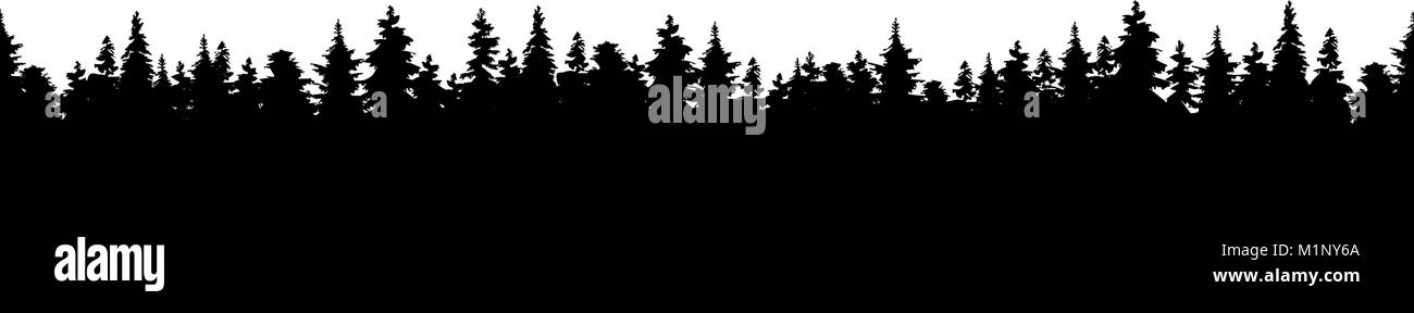 Vector illustration of a silhouette panorama of a coniferous for - Stock Vector
