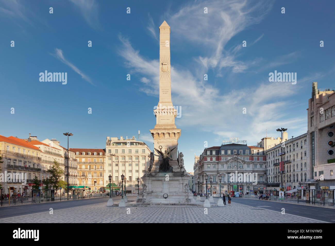 Praca dos Restauradores, Obelisk, Avenida da Liberdade, Lisbon, Portugal, Europe - Stock Image