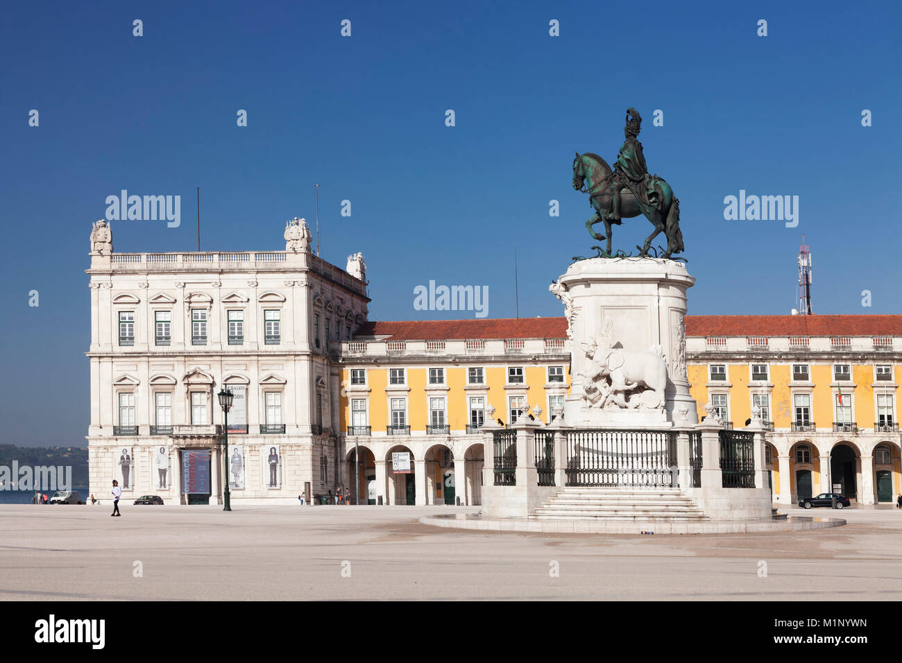 Praca do Comercio, monument of King Jose I, Baixa, Lisbon, Portugal, Europe - Stock Image