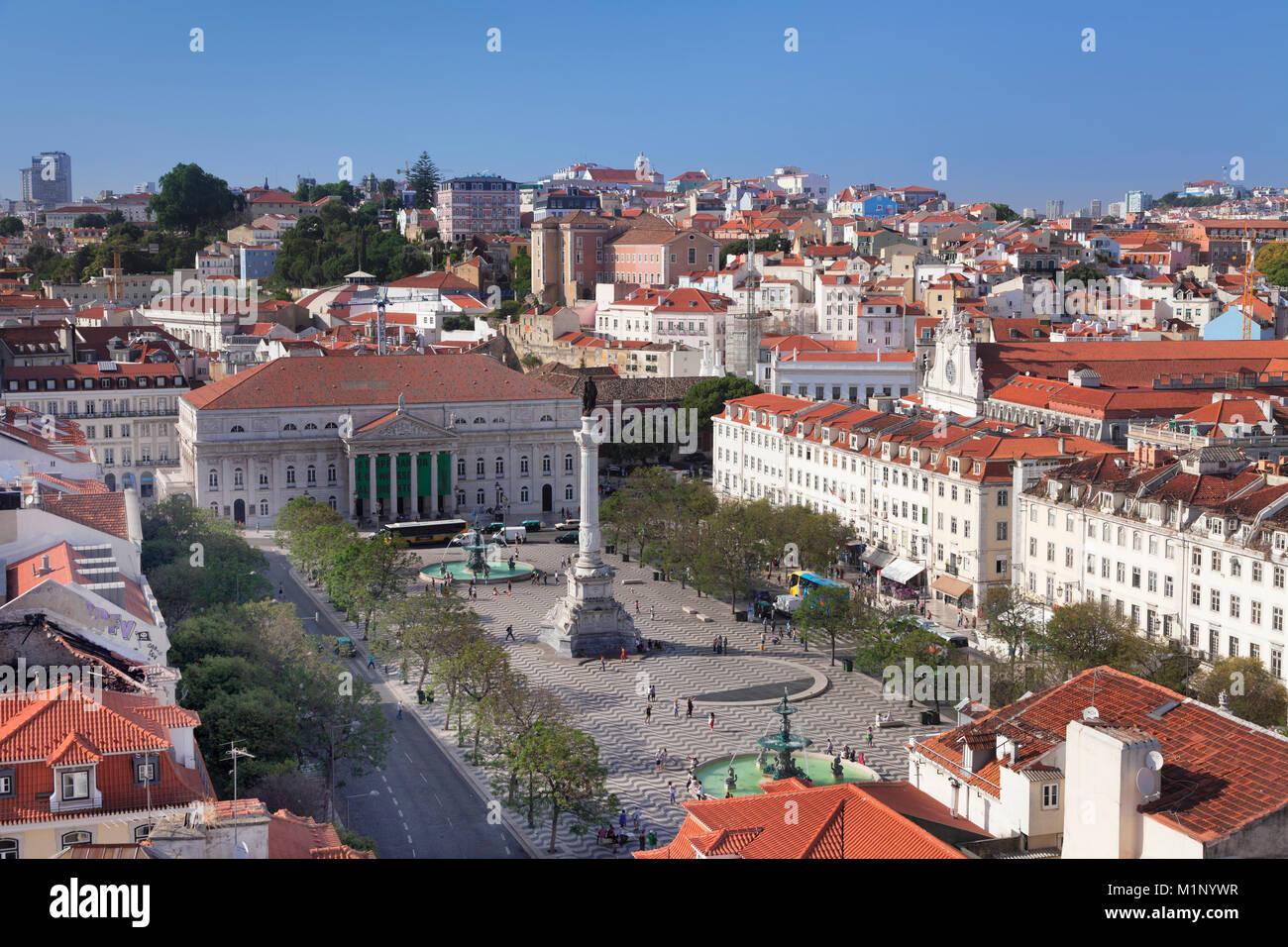 Rossio, Praca Dom Pedro IV, National Theatre Dona Maria II, Baixa, Lisbon, Portugal, Europe - Stock Image