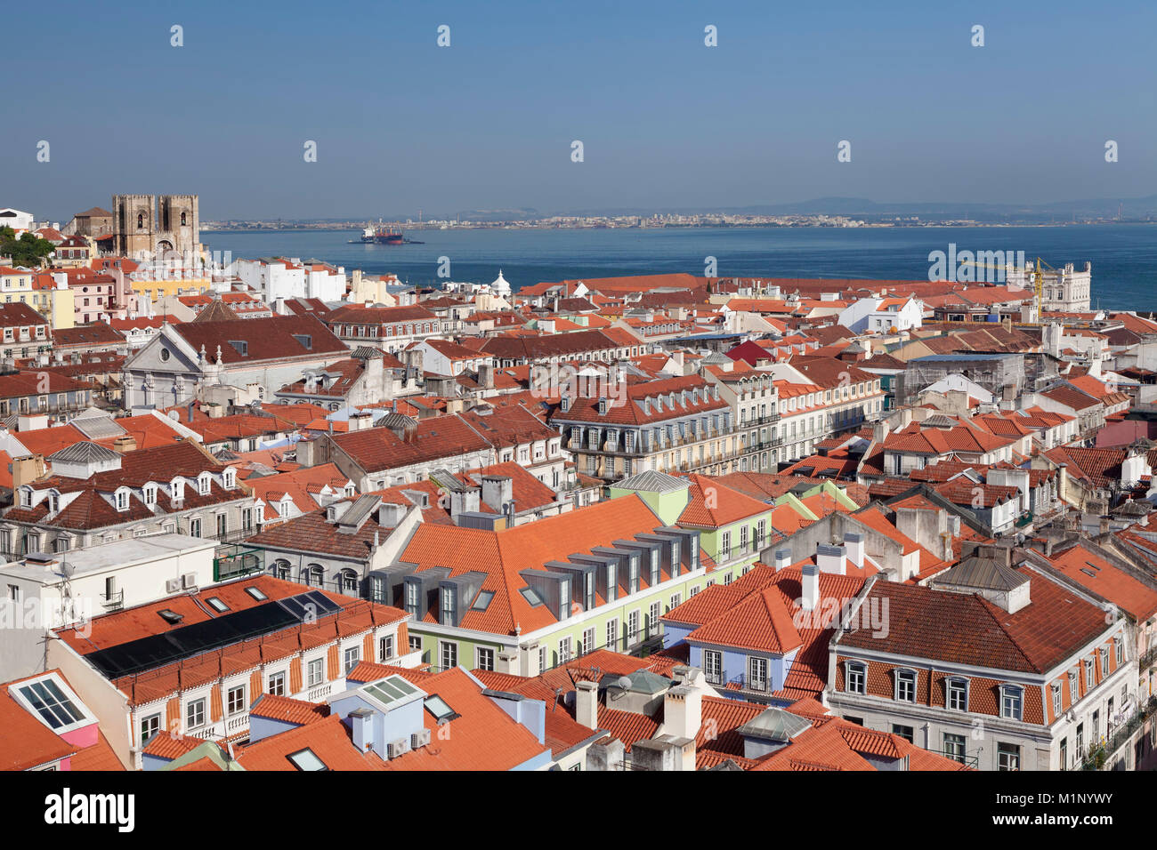 View over the old town to Se Cathedral and Tejo River, Lisbon, Portugal, Europe - Stock Image