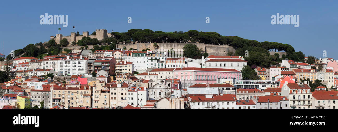 View over the old town to Castelo de Sao Jorge castle, Lisbon, Portugal, Europe - Stock Image