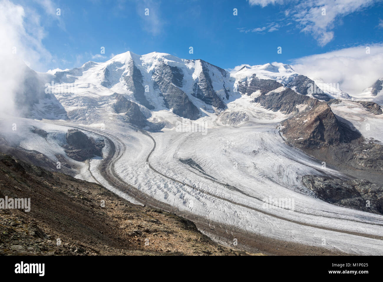 Overview of the Diavolezza and Pers glaciers, St. Moritz, canton of Graubunden, Engadine, Switzerland, Europe - Stock Image