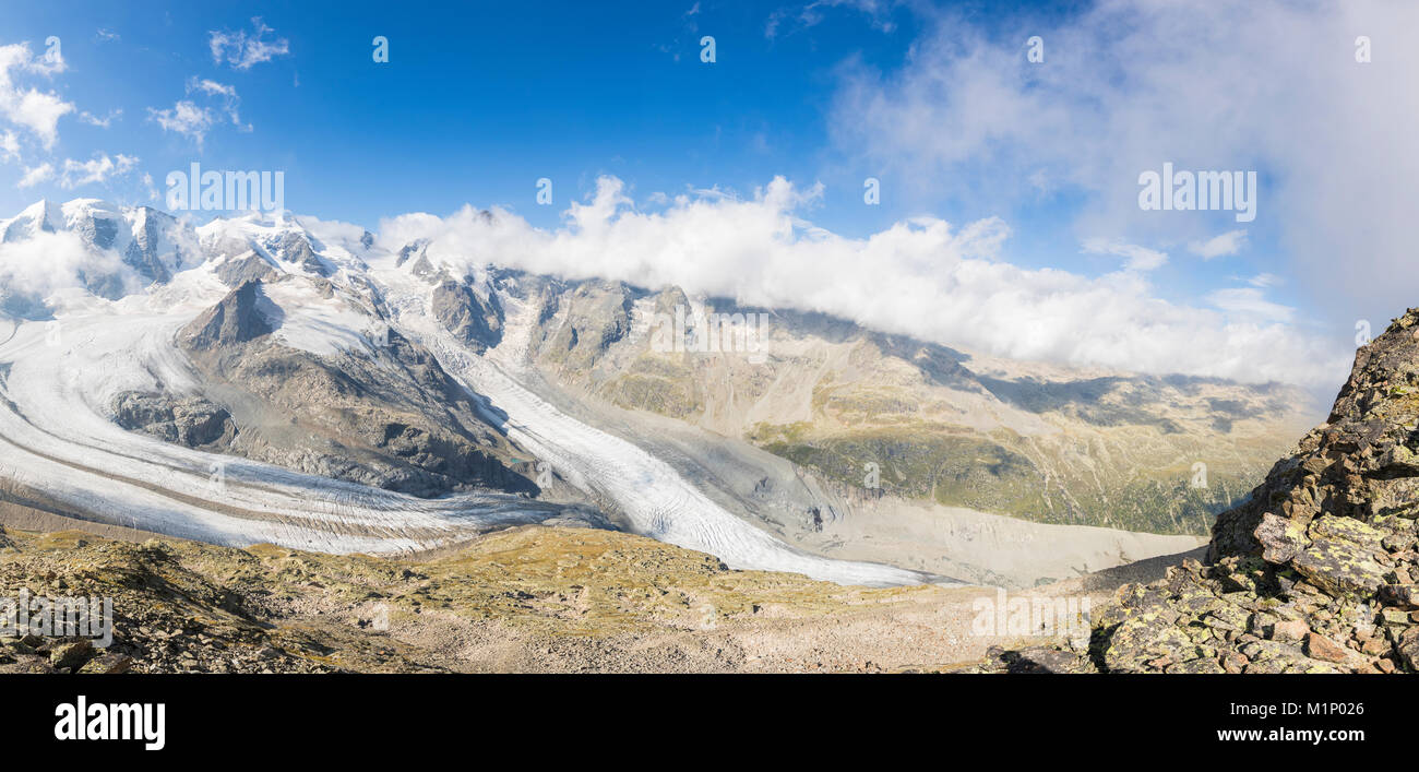 Panoramic of the Diavolezza and Pers glaciers, St. Moritz, canton of Graubunden, Engadine, Switzerland, Europe - Stock Image