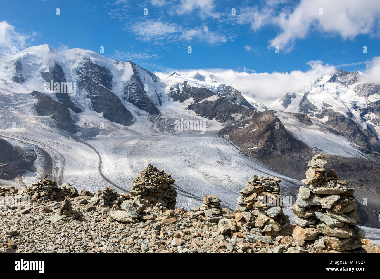 Overview of the Diavolezza and Pers glaciers and Piz Palu, St. Moritz, canton of Graubunden, Engadine, Switzerland, - Stock Image
