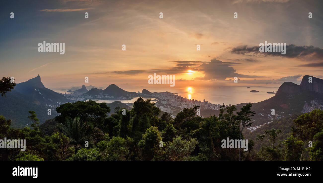 Cityscape from Vista Chinesa at sunrise, Rio de Janeiro, Brazil, South America - Stock Image