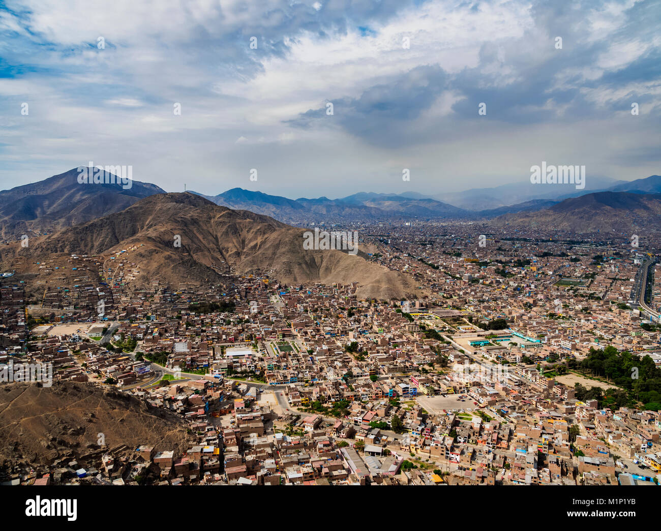 Cityscape seen from the San Cristobal Hill, Lima, Peru, South America - Stock Image