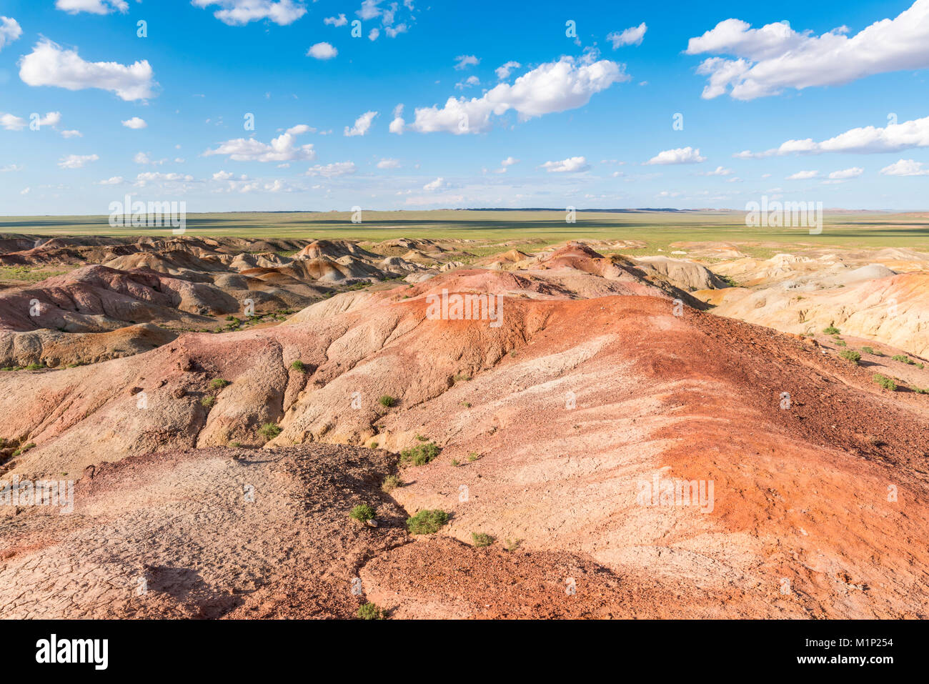White Stupa sedimentary rock formations, Ulziit, Middle Gobi province, Mongolia, Central Asia, Asia - Stock Image