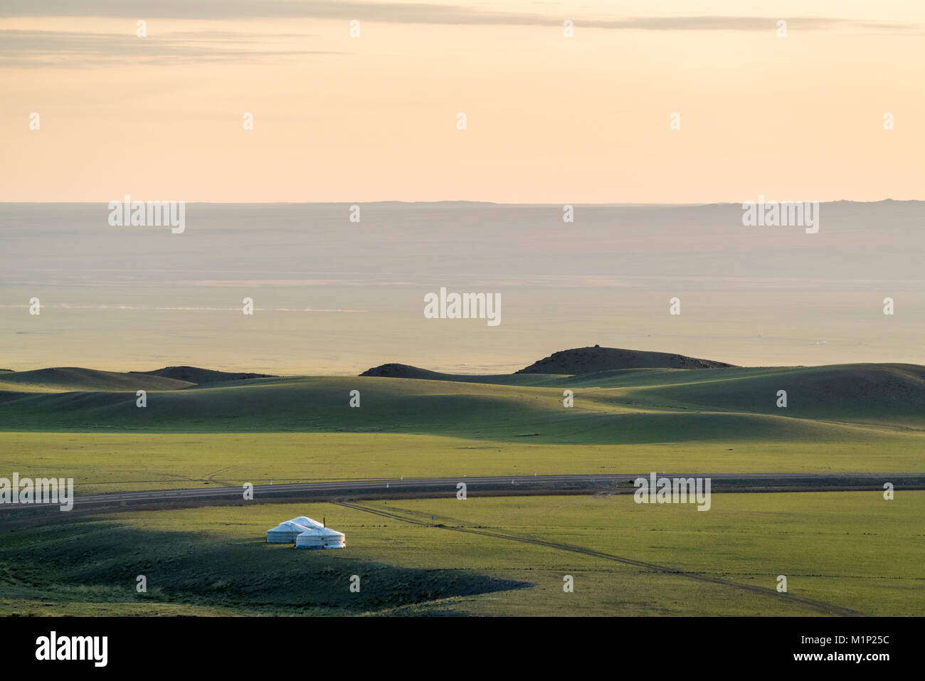 Nomadic camp and hills, Bayandalai district, South Gobi province, Mongolia, Central Asia, Asia - Stock Image