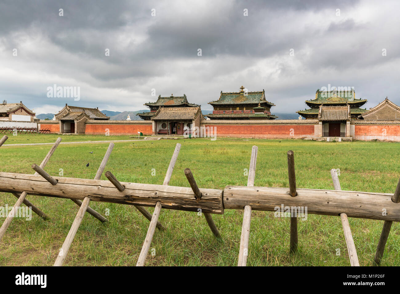 Temples in Erdene Zuu Monastery, Harhorin, South Hangay province, Mongolia, Central Asia, Asia - Stock Image
