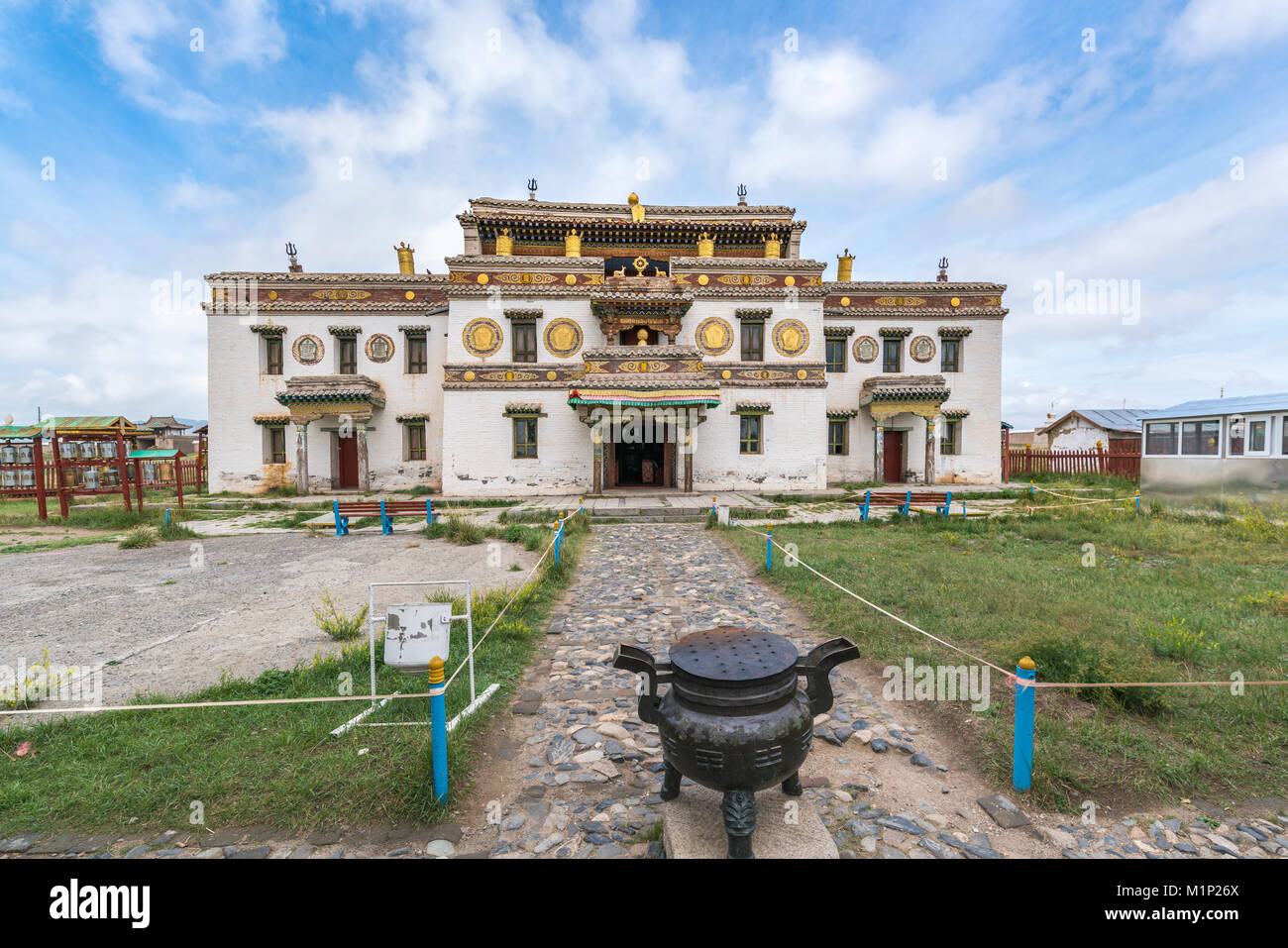 Main temple in Erdene Zuu Buddhist Monastery, Harhorin, South Hangay province, Mongolia, Central Asia, Asia - Stock Image