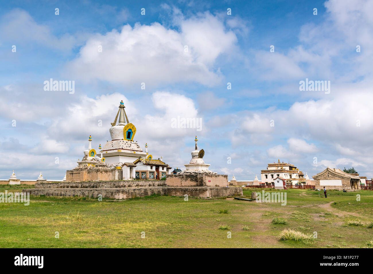 Stupas and buildings in Erdene Zuu Monastery, Harhorin, South Hangay province, Mongolia, Central Asia, Asia - Stock Image