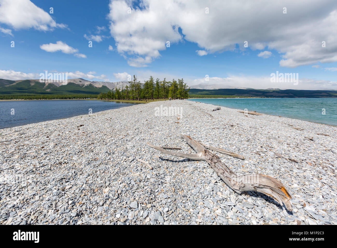 Pebble shores of Hovsgol Lake, Hovsgol province, Mongolia, Central Asia, Asia - Stock Image