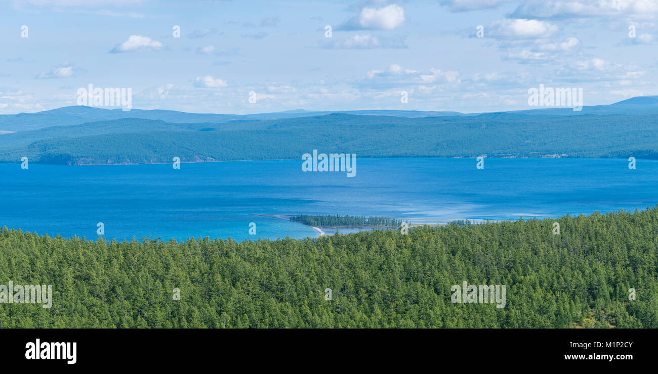 Taiga and Hovsgol Lake seen from above, Hovsgol province, Mongolia, Central Asia, Asia - Stock Image