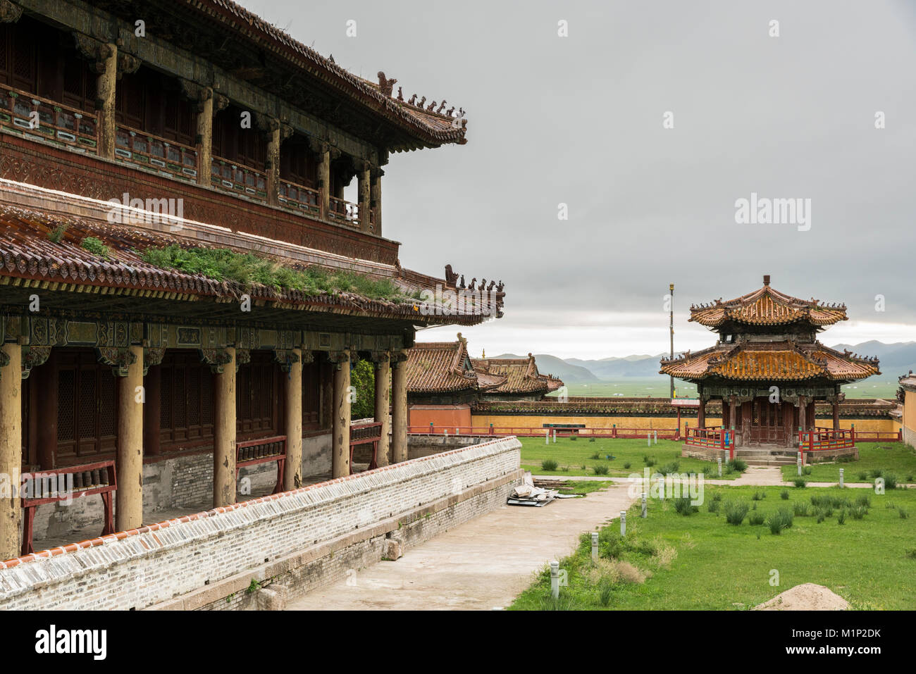 Temples in Amarbayasgalant Monastery, Mount Buren-Khaan, Baruunburen district, Selenge province, Mongolia, Central - Stock Image